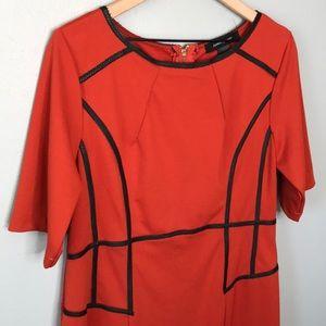 Ashley Stewart burnt orange midi dress size 14